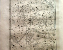 ASTRONOMY plate, antique sky chart of constellation print, vintage  map engraving stars, celestial Cygnus Swan astrology. 142 years old.