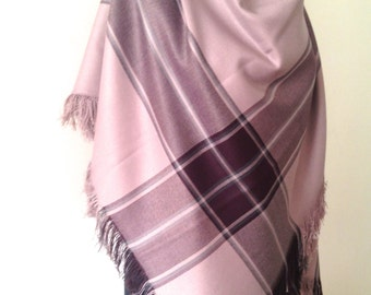 Dusty Pink Tartan Plaid Blanket Scarf, Rose Pink Winter Scarf, Casual Winter Shawl Cover Up, Oversize Wrap, Gift For Her, Christmas Gift