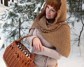 Knitted scarf, hooded scarf, hooded cowl, boho scarf, long knit scarf, chunky knit scarf, women's knit scarf, crochet scarf, boho clothing
