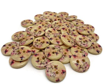 10 butterfly buttons, 15mm wooden buttons, nature buttons, painted buttons,sewing buttons,  sewing supplies, cardmaking supplies