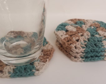 Teal and Tan Cotton Crocheted Coasters, Set of 4