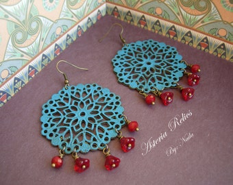 Cleopatra - Painted Teal Patina on Vintage Brass Filigree Disks with Czech Glass Red Flowers, Brass Earrings.