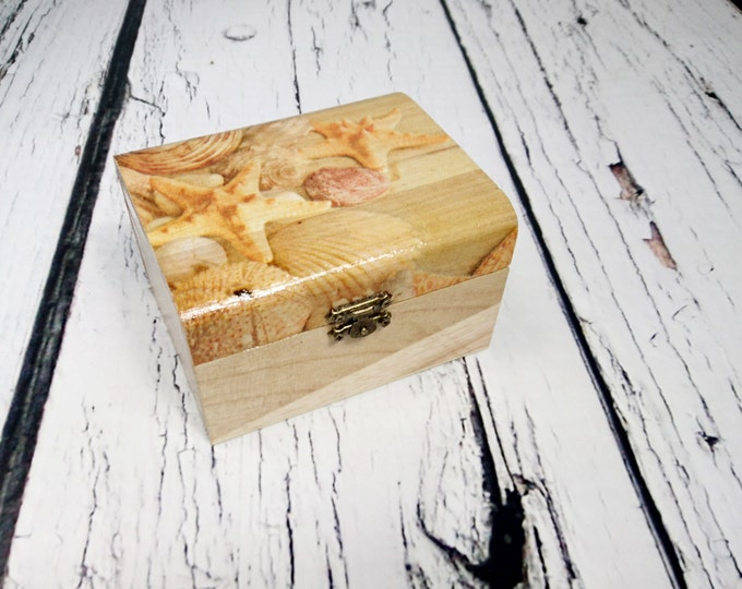 Starfish beach wedding decor decoupage wooden trinket box bridesmaid gift personalized sea shells thank you gift