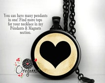 Black Heart Necklace Interchangeable Magnetic Pendant with metal chain Magnet Insert Your choice of bronze silver or black giveaway jewlery