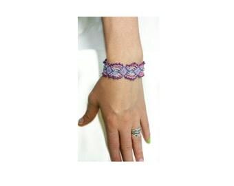 Friendship bracelet,purple micro macrame bracelet ,beaded bracelet, boho bracelet , OOAK bracelet