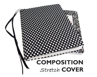 Stretch Composition Book Cover BLACK & WHITE DOTS, Composition Notebook Cover, Fabric Book Cover, Bullet Journal Cover, Journal Accessories