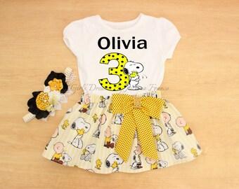 Snoopy Birthday Outfit, Snoopy Tutu, Personalized Snoopy Outfit, Snoopy Dress, Charlie Brown Birthday Tutu, Snoopy Shirt,Charlie Brown Shirt