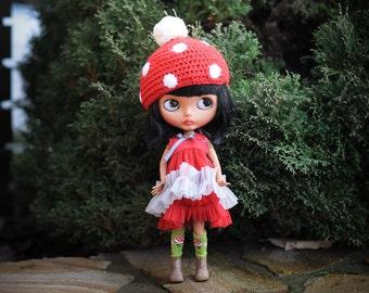 Blythe red and light gray  dress  - Blythe  outfit - doll dress by BlabaBlythe