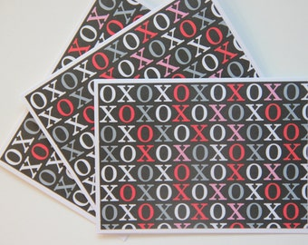 12 XOXO Cards.  Valentine's Day Note Cards. Hugs and Kisses note cards. Love Card Set.  Party Invitations.  Valentine Thank You Cards