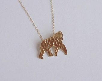 Gold Gorilla Necklace, Monkey Necklace, Ape Jewelry, Gorilla Charm Necklace, Birthday Gift, Chimpanzee Necklace, Orangutan, HoneyBeeCharmed