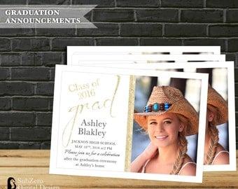 Graduation Announcement/Invitation, Class of 2016, Gold and Glitter Modern Custom Photo Invitation, Digital File