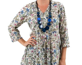 Lulu Cotton Tunic Top - Springtime