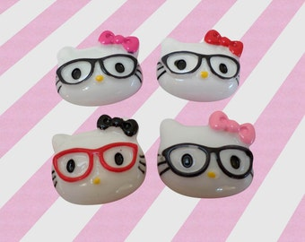 25mm Kawaii Nerd Hello Kitty Decoden Cabochons, 4 pc set