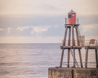 "Lighthouse Photograph - Red Nautical Decor - Minimalist - Lighthouse Decor - Coastal Art - Whitby - Coastal Decor - ""Ocean Dreams"""