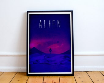 Alien Minimalist Movie Poster - Alternative Movie Posters - Art Print - Wall Art - Sci-Fi Collection (Available In Many Sizes)