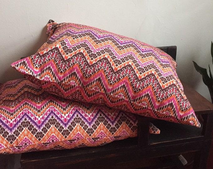 Organic Linen Pink Chevron Pillowcase Sham - Set of 2 Linen Shams - Linen Pillow Shams