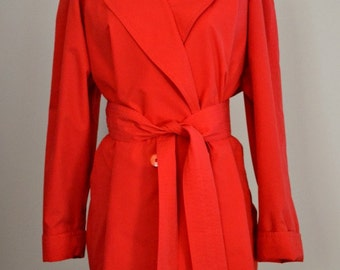 LAUREL Vintage Red Oversized Trench Coat, Women's, 1980's, Made In Austria