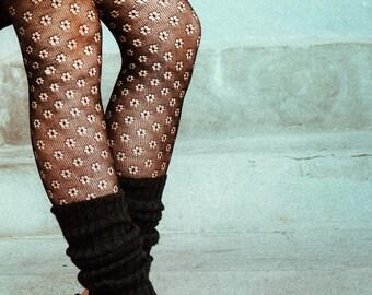 Handknitted leg warmers, 100% wool, black