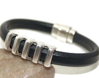 Mens leather bracelet mens bracelet bangle bracelet licorice leather charcoal gray leather bracelet magnetic clasp LLB-40-04