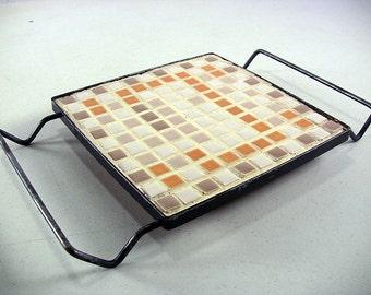 Vintage Tile Trivet Mosaic Tile Trivet Ceramic Tile Trivet Vintage Pot Holder Counter Saver Table Trivet Kitchen Trivet Mid Century Kitchen