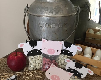Farm Animal Bag Toppers. Cow, Pig, Sheep, Chick Bag Toppers. Perfect Farm Party Favor for Birthday Party or Baby Shower. Digital Download