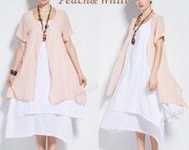 Anysize soft linen &cotton two piece dress plus size dress plus size tops plus size clothing summer spring autumn dress clothing Y96