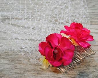 Pink Floral Birdcage Veil - Wedding Birdcage - Floral Wedding Veil - Short Wedding Veil - Pink Bridal Headpiece - Pink Veil - Pearl Veil