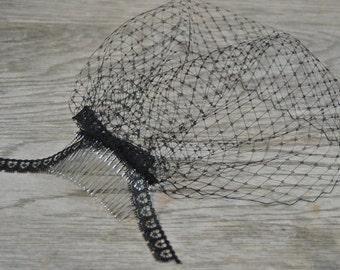 Black Lace Veil - Funeral Veil - Black Birdcage Veil - Widow Veil - Halloween Costume Veil - Mourning Veil - Short Black Veil - Mini Veil