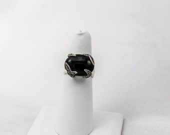 Sterling Silver, Onyx, and Marcasite Ring Size 5.5