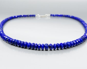 Faceted Lapis Lazuli necklace - natural Lapis Lazuli jewelry - royal blue necklace - Statement Necklace - gift idea - elegant and classic