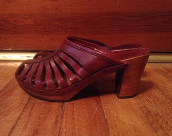 Vintage 1970s Womens THOM MCAN Woodworks Wooden High Heel Wedge Leather Platform SHOES Size 6 Boho Mod Hippie