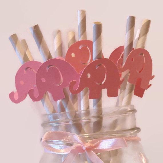 Gianna S Pink And Gray Elephant Nursery Reveal: Elephant Straws, Pink And Gray Baby Shower Decorations