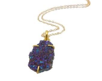 Aura Quartz Necklace, Rainbow Druzy Quartz Necklace, Titanium Druzy Pendant, Gift Women