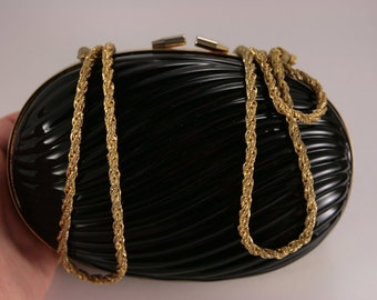Walborg Vintage Purse Evening Clutch Italy Handbag Gold Chain Capsule, Prom Purse, Black Purse Clutch, Made in Italy
