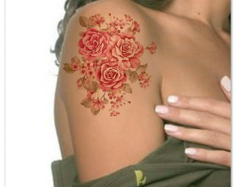 Temporary Tattoo Flower Ultra Thin Realistic Waterproof Fake Tattoos