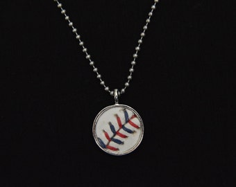 Baseball Necklace- Red/Blue Stitches Limited Edition- Round 3/4 inch, Metal Back