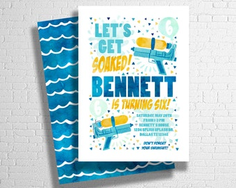 Water Gun Party | Squirt Gun Birthday | Pool Party Birthday Invitation | Birthday Pool Party | Summer Birthday Invitation| DIGITAL FILE ONLY