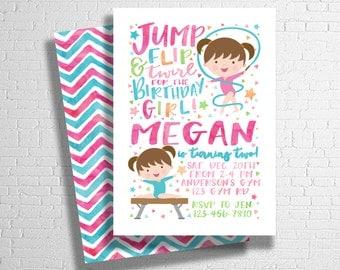 Gymnastics Birthday Invitation   Gymnastics Party   Jump Party Invite   Bounce Jump Play Birthday   DIGITAL FILE ONLY