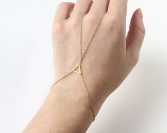 Gold triangle hand chain - gold triangle slave bracelet - gold minimalist bracelet - gold geometric bracelet - minimalist slave bracelet