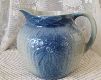Salt Glazed Stoneware Pitcher, Blue and White, Poinsettia, Burlap Pattern, Antique Primitive Pottery