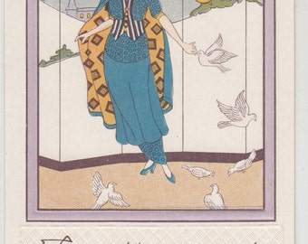 Chic Art Nouveau Woman ,Doves, Trees,Sun, Antique Christmas Postcard, 1910, Slightly Indented Frame