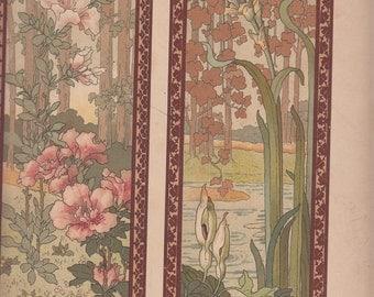 """Two Beautifuul Floral Panels Mucha Style Print,1911,Le Journal de la Decoration,10.5"""" X 14"""""""