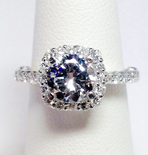 1 75CT Diamond Cushion Halo Round Brilliant Diamonds