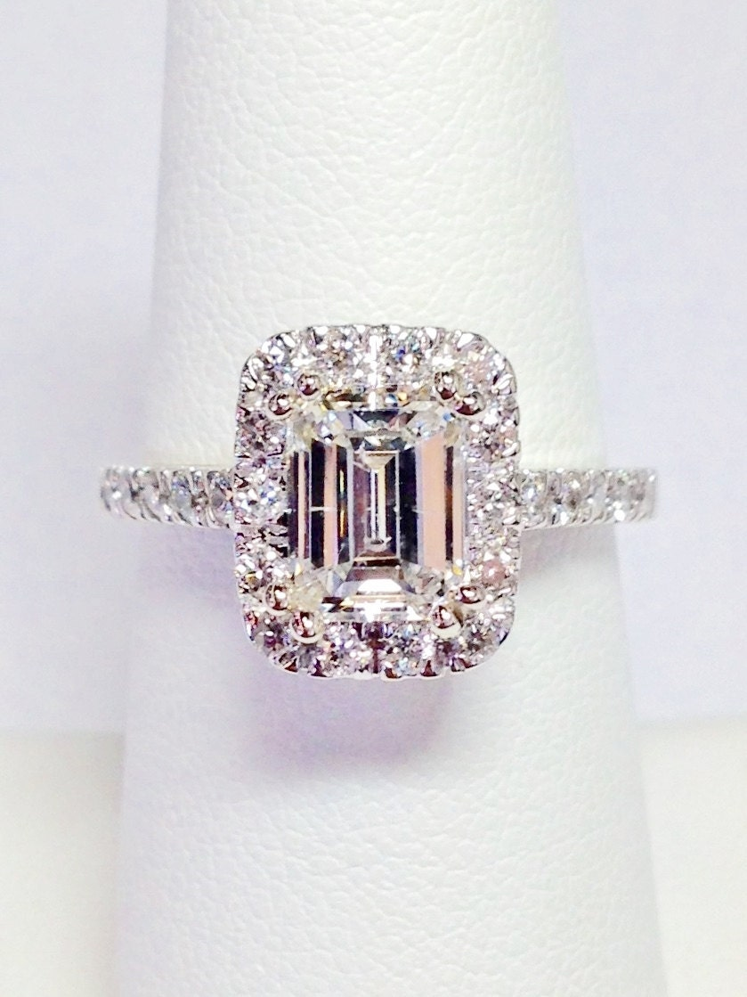 diamond emerald cut halo engagement ring by finejewlers. Black Bedroom Furniture Sets. Home Design Ideas
