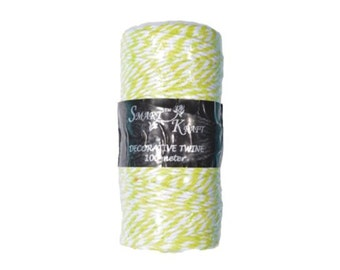 100m Lime Green / White Coloured Bakers Twine on Spool 1.5mm Thick - CR6011