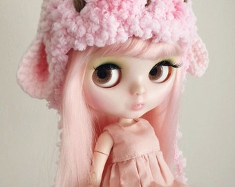Pink Puffy Sheep helmet hat for blythe.