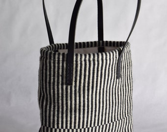 Hand woven black and white striped tote bag black leather wool weaving purse