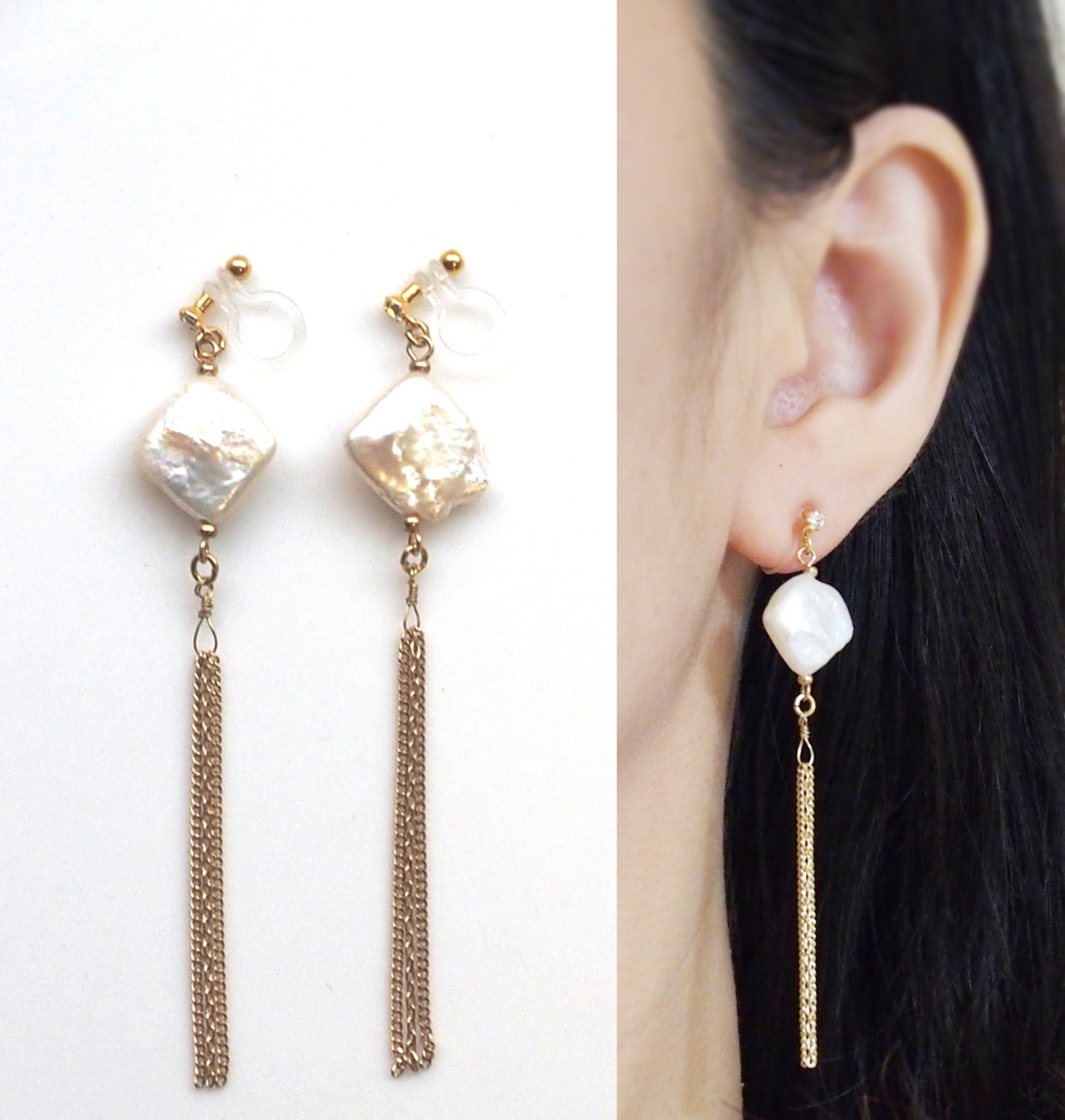 pearl clip on earrings dangle freshwater pearl invisible clip. Black Bedroom Furniture Sets. Home Design Ideas