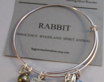 Rabbit,Bracelet,Positive Energy,Pyrite,Hummingbird Bracelet,Rabbit Jewelry,Bunny Bracelet,Birthstone,Sterling Bracelet,Bangle,Bunny,Rabbit