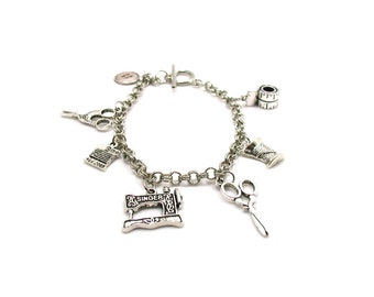 Sewing Charm Bracelet, Sewing Bracelet, Crafting Charm Bracelet, Delicate Bracelet, Silver Jewelry, Gift Under 20, Sewing Jewelry, Sewing